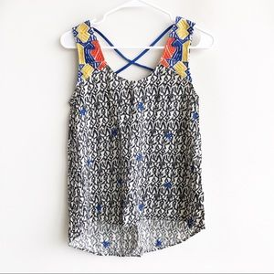 Anthropologie | THML Embroidered Tank Strappy Back